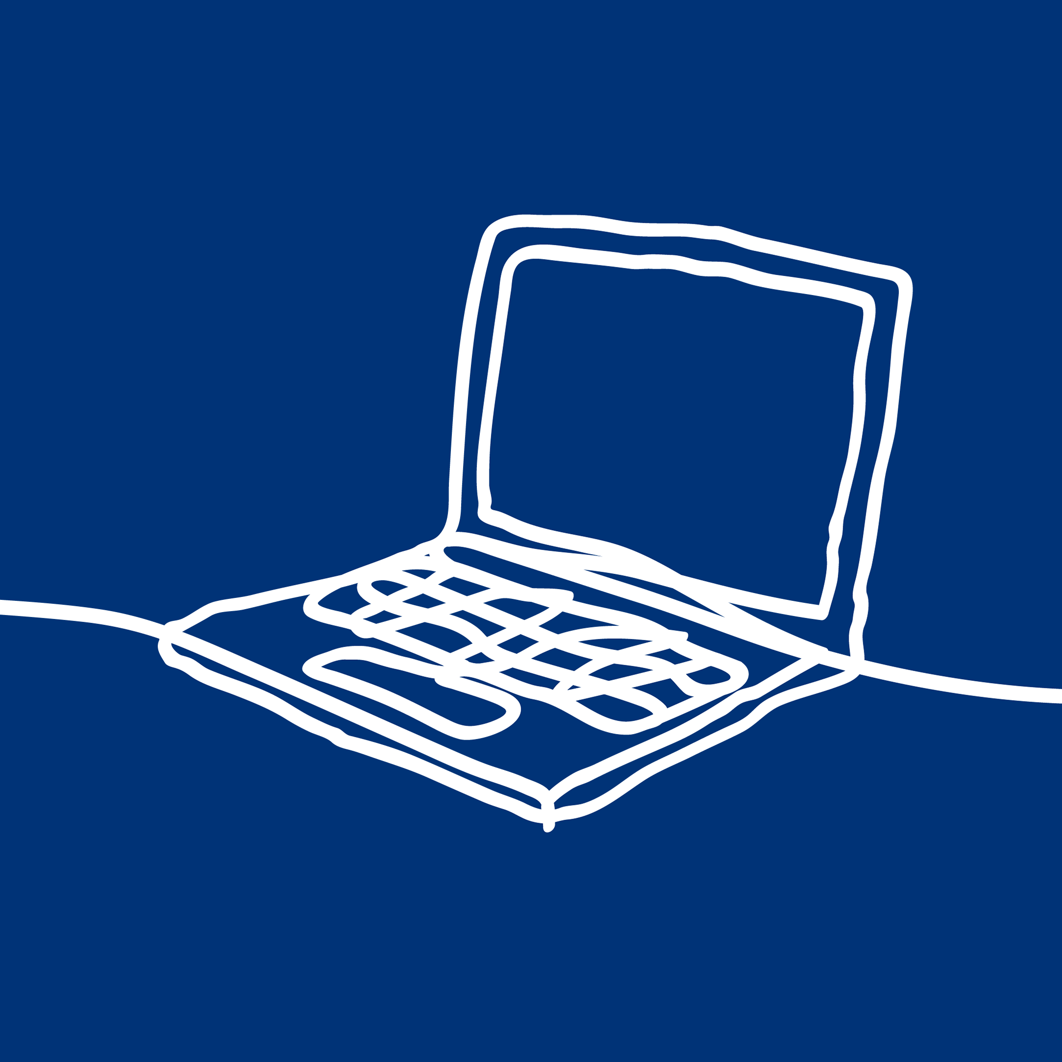 Line drawing of a laptop