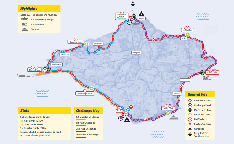 A map of all the routes that can be taken to complete the Isle of Wight Ultra challenge