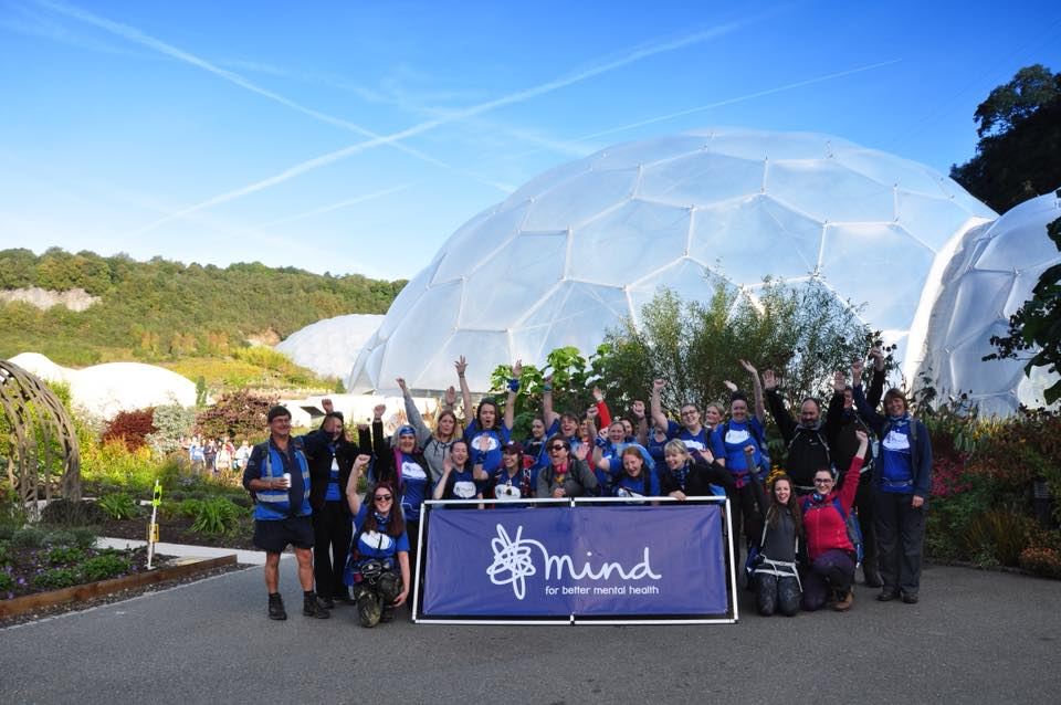 Group of Mind Hikers celebrating at the Eden Project
