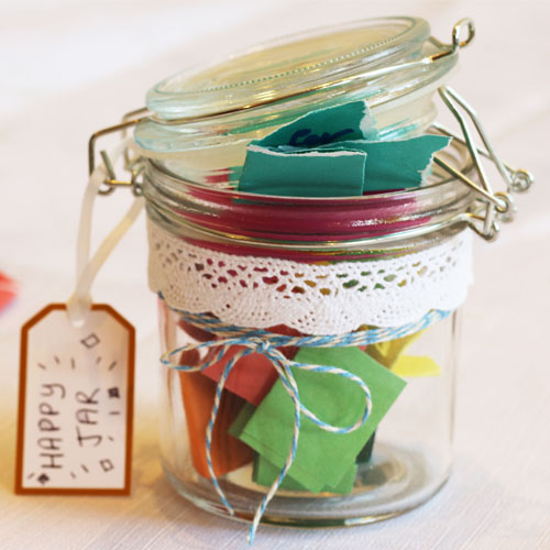 Happy jar bursting with lovely quotes and phrases