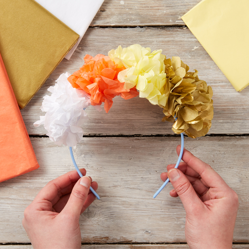 Colourful tissue paper flower crown