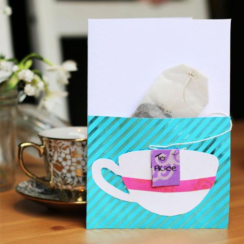 Tea greetings card with a tea tucked into the front