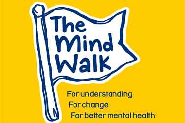 a flag logo for the Mind Walk event, white on a yellow background