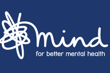 Mind logo white on blue background