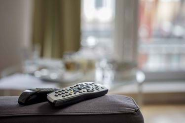Remote control sitting on sofa